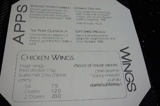 Fuse Sports Club at Gaylord Hotel: MENU Appitizers & Wings