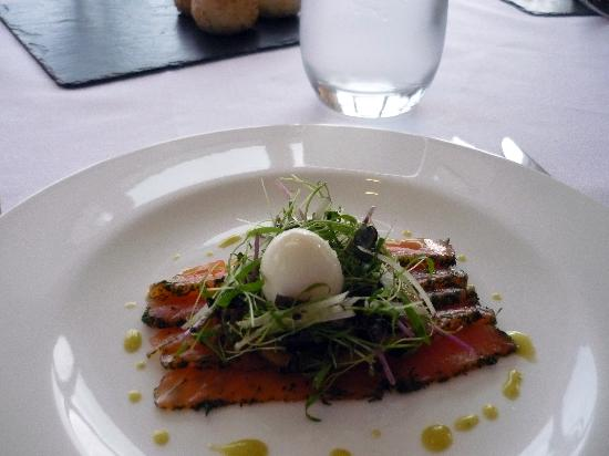 Craig Millar @ 16 West End: Smoked salmon and quail's egg starter