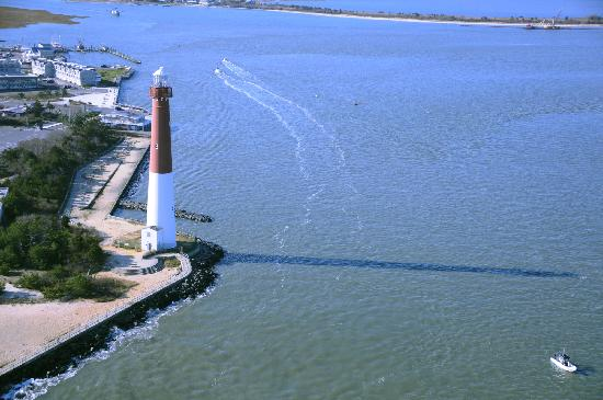 Aerial view of Barnegat Lighthouse showing the Barnegat Inlet
