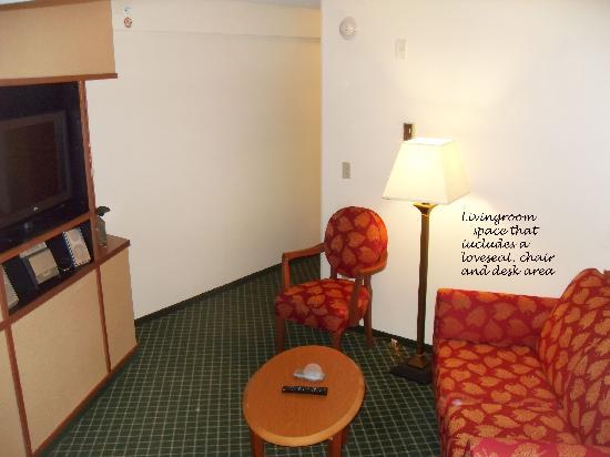 Fairfield Inn & Suites Mount Vernon Rend Lake: the livingroom space