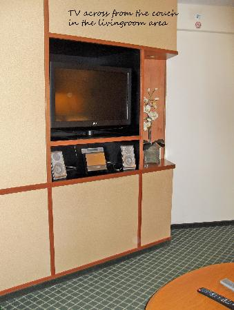 Fairfield Inn & Suites Mount Vernon Rend Lake: size and space of the livingroom television