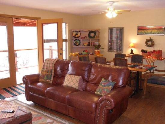 Riverwood Retreat & Tin Can Tourist Court: The Hacienda del Colorado has a nice cozy living area to relax in when your not relaxing on the
