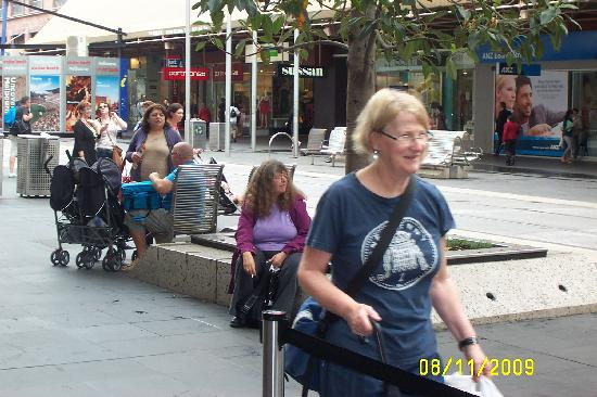 Melbourne Central: time for sis to have a rest on one of many benches in the mall