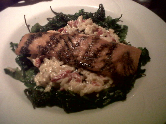 Bistro on Main: Salmon with red pepper orzo in a creamy cheese sauce and crispy fried spinach