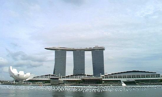 Marina Bay Sands: マーライオンパークから