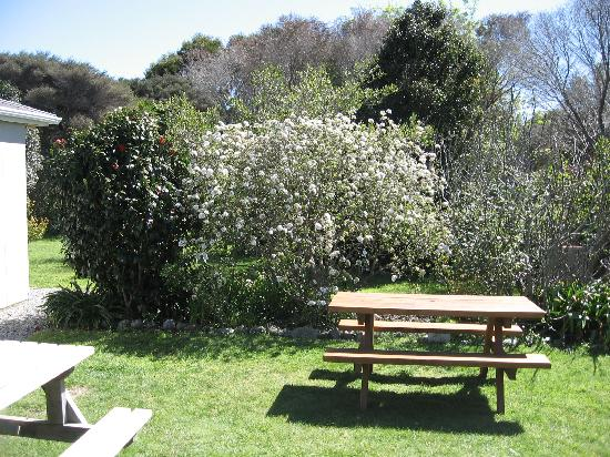 Farewell Gardens Motor Camp and Holiday Accommodation: sit at the table and hear the birds sing