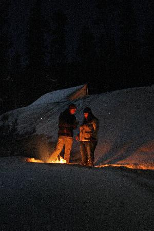 Montana Dinner Yurt: Couple at outside fire pit