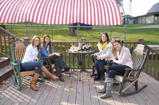 Long Acre Farms: Enjoying wine on the deck