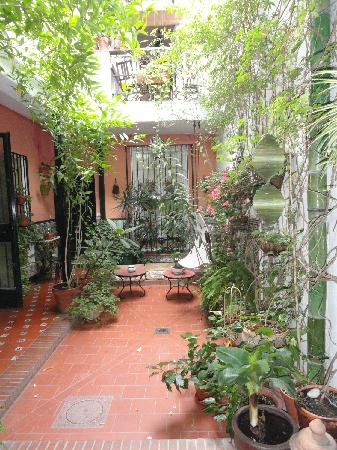 El Riad Andaluz: beautiful central courtyard that our bedroom balcony overlooked