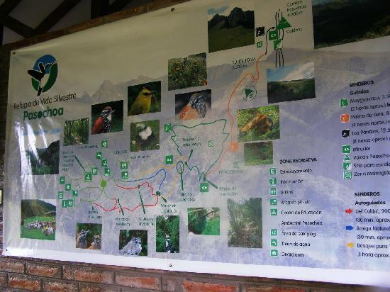 Pasochoa Forest Reserve: Mapa de los Senderos del Pasochoa