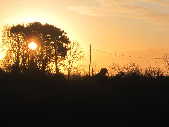 sunrise over the fields behind Spire Cottage