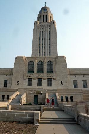 """Nebraska State Capitol: This is the wrong way to enter (south side) but do go to the lower level; we called it """"the cata"""