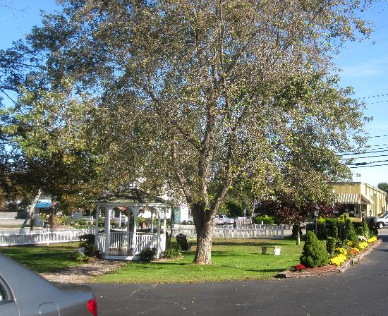 Taber Inne and Suites: Picturesque gazebo and flowers out front