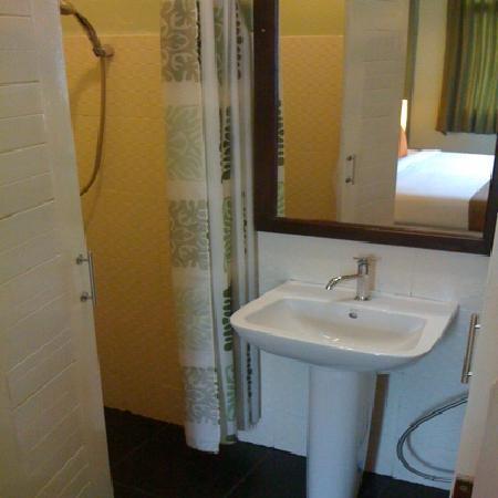 Orange Tree House: Duschbereich, durch Vorhang abgetrennt