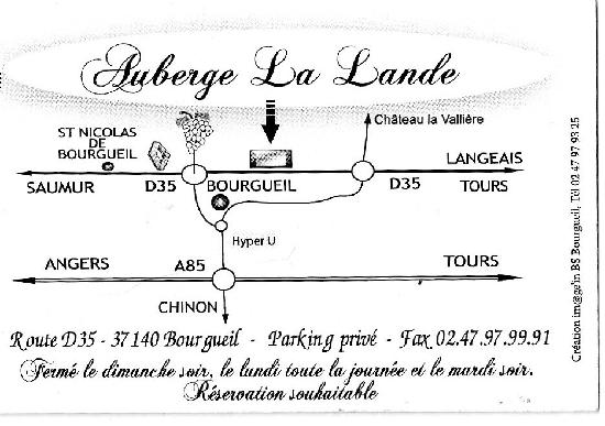 Plan d'accès Auberge de la Lande. Bourgueil