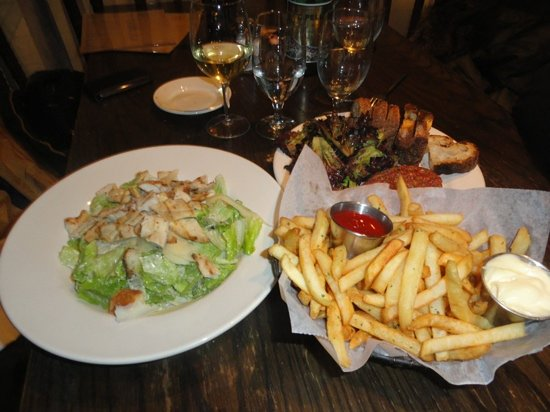 Landmarc [at Time Warner Center] : caesar salad with chicken and tartare with fries