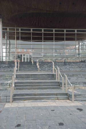 National Assembly for Wales: Steps at the front of the building