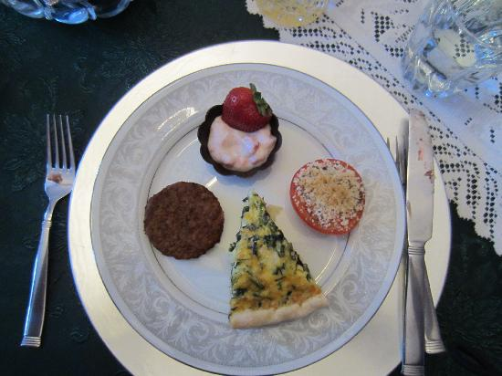 Barrister's Bed & Breakfast: spinach quiche, yogurt with fresh fruit and spices in a dark chocolate cup, roasted tomato drizz