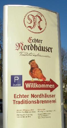 Nordhauser Traditionsbrennerei: Hinweisschild an der Grimmelallee