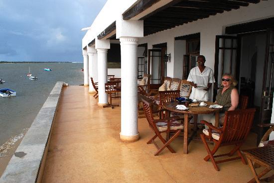 Peponi Hotel: tea on the veranda