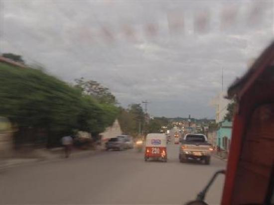 an urban road in the central eastern smalll city of Santa Elena
