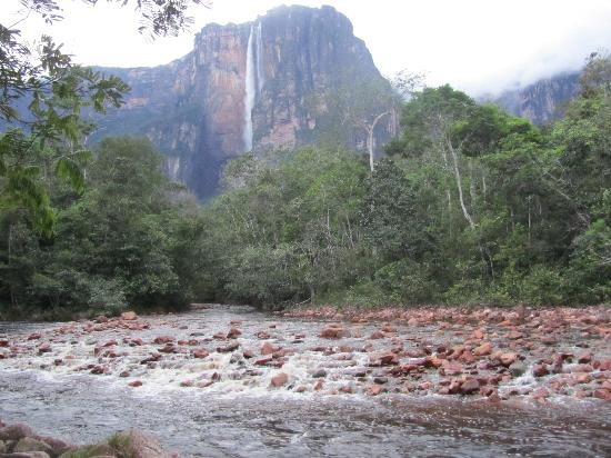 Mt. Auyantepui : The mountain reveals Salto Angel amongst the clouds