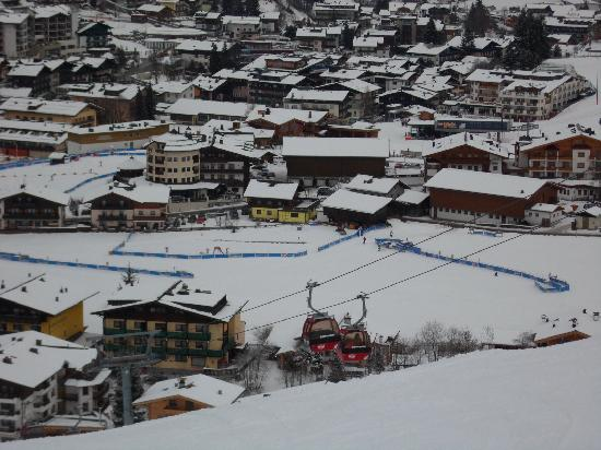 Pension Penhab: View from ski slope - yelow hous
