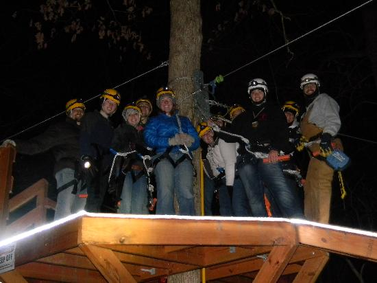 Holler Hoppin' Zip Lines: Our group from the inaugural Night Hop run.