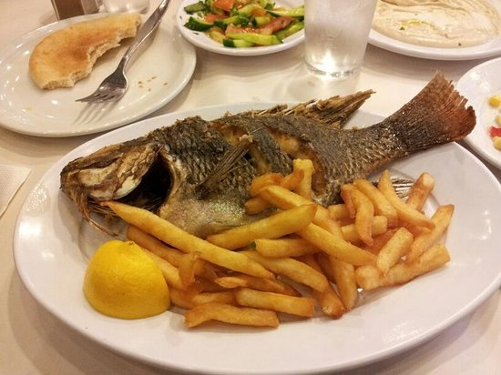 Tanoreen: Isreali style fish and chips.....