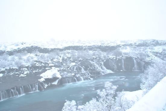 Husafell, Islandia: Hraunfossar in a blizzard