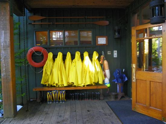 Middle Beach Lodge: Rain coats and boots for guests