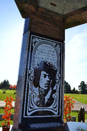 Jimi Hendrix Grave Site: Portrait on the inside wall of gazebo