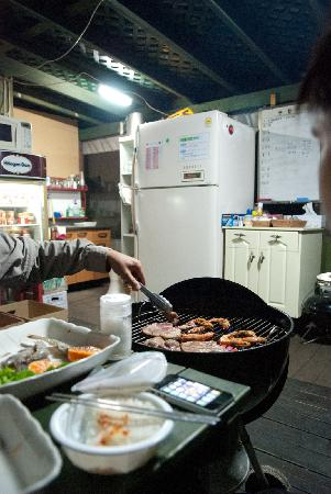 Gyeongju JY Pension: Our BBQ Dinner prepared by Mr Han