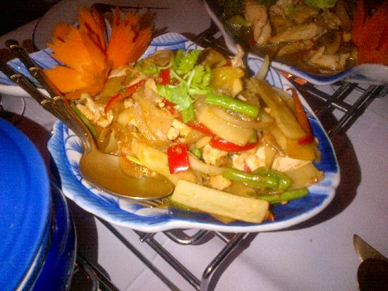 Banthai Wareethip: Gai Phad Bai Gra (fried chicken with thai basil and bamboo)