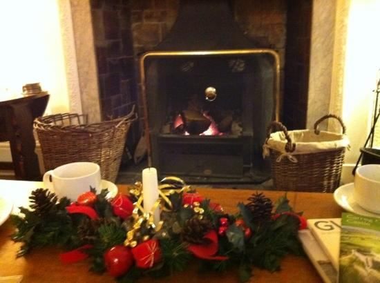 The Hafod Hotel: the fire place in a room of delightfully comfy chairs