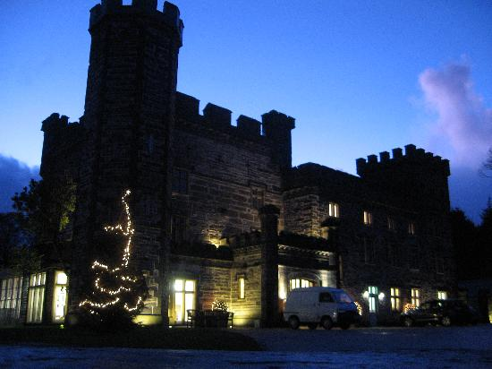 Castell Deudraeth: The front of the Castell on a winter's evening