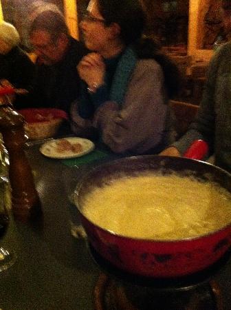Bergrestaurant Bussalp: Cheese fondue pot