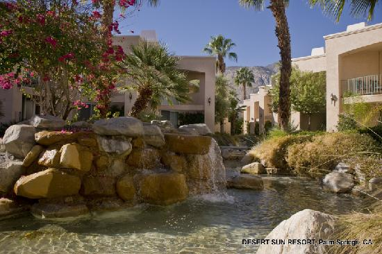 Desert Sun Resort: Waterfall and Lush Landscaping
