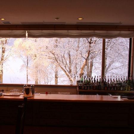 Hotel Grand Phenix Okushiga: ラウンジからライトアップした自然がが広がる