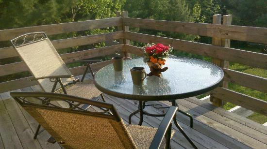 Loose Moose Lodge Bed & Breakfast : Deck overlooking the Bluff
