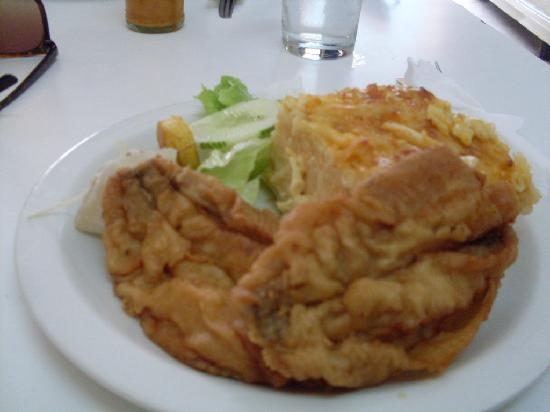 Mustor's Restaurant: Fried Flying Fish with Callalloo