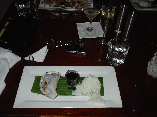 THE PROMENADE RESTAURANT: Barramundi fillet. Asian style en papillote with bok choy, ginger, chilli, corriander, tomato, e