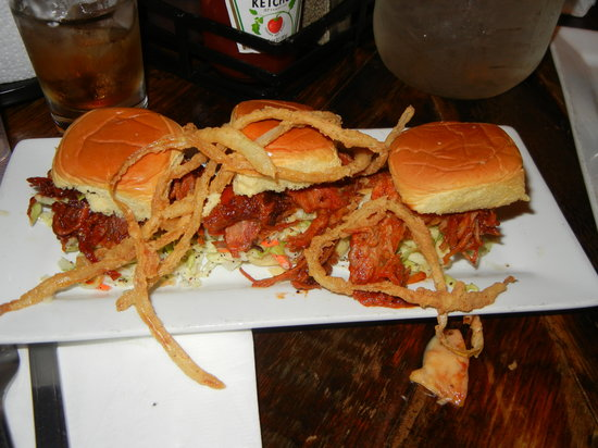Southern Hospitality BBQ: Pork sliders with haystack onions and coleslaw