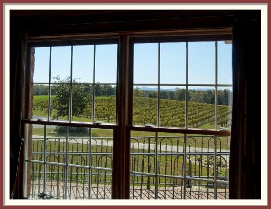 Stony Knoll Vineyards: Looking out the window towards the vinyards