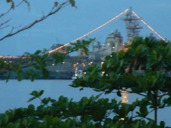 Queenco Hotel & Casino: US Warship off Victory Beach - viewed from Room.