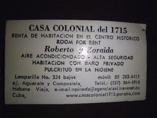 Casa Colonial 1715 : la carte