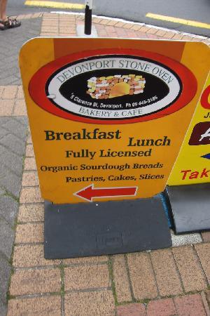 Devonport Stone Oven Bakery & Cafe: sign board on the main street corner