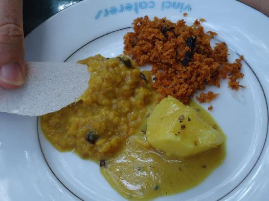 The Kandy Garden Cafe: potato curry, dhal, spicy coconut sambal