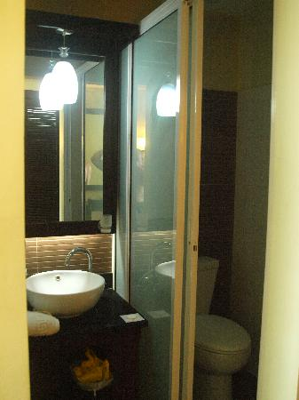 San Remigio Pensionne Suites: Shower on the left Toilet to the right