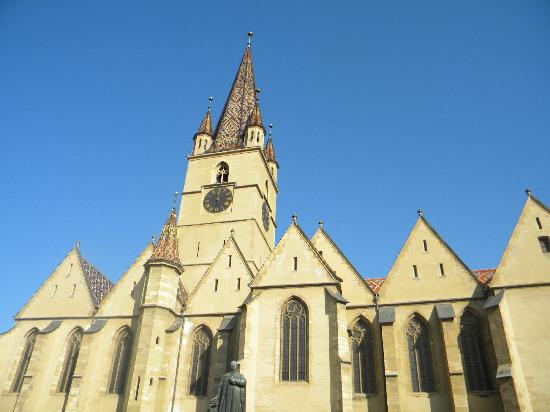 Lutheran Evangelical Cathedral & Tower : The cathedral with Teutsch statue in front